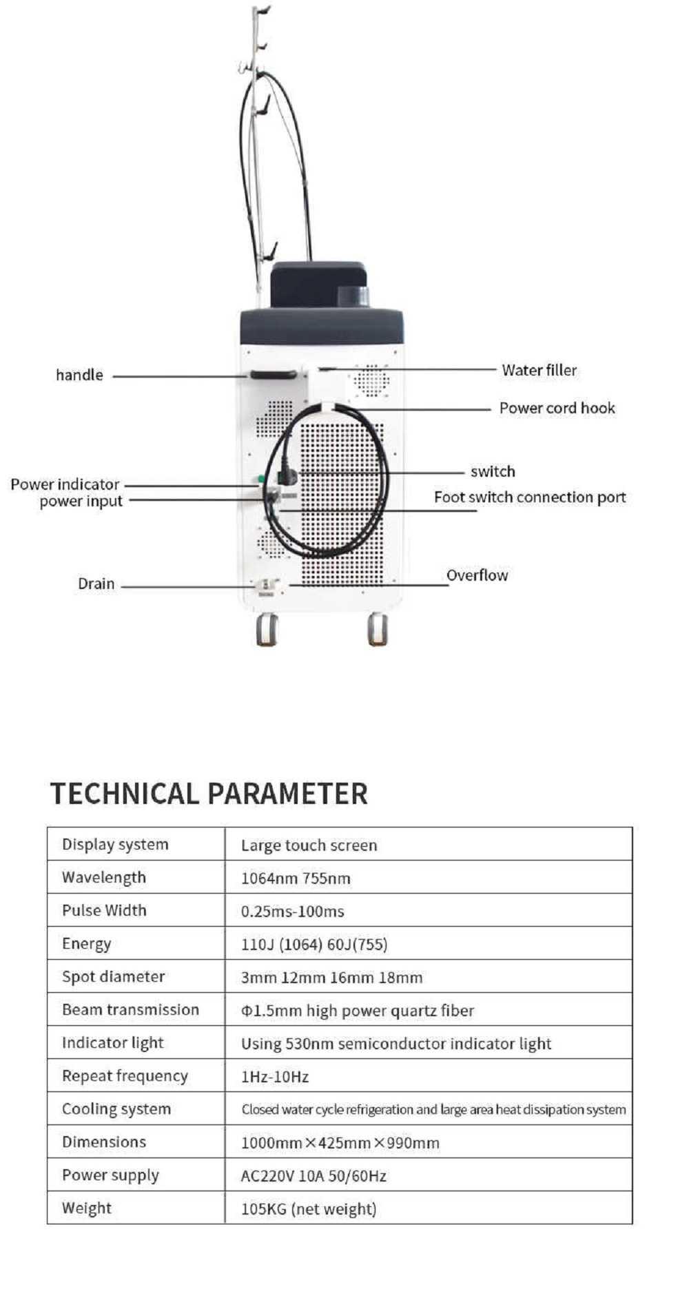 Gentlemax Pro Alexandrite Long Pulse YAG ALEX 1064nm & 755nm Laser Hair Removal Machine
